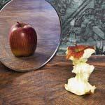 Torsolo di mela il cui riflesso nello specchio appare come mela intera